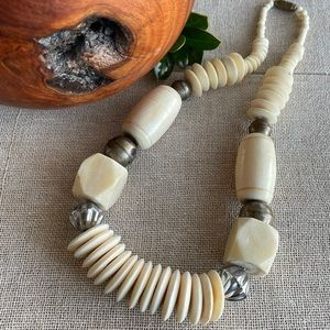 Vintage Bone & Brass Beaded Necklace
